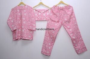 Hand Block Cotton White Floral Print Women Bridesmaid Nightwear Pink Pajama Suit