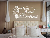 Hand Carving HOME SWEET VINE FLOWER Words Quote Wall ART Sticker UK Decor RUI194
