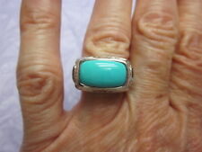 EFFY 14K WHITE GOLD Sleeping Beauty TURQUOISE Blue TOPAZ ART DECO Ring Sz 6.25