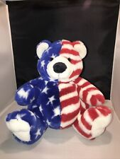 "Fiesta Plush Sitting Flag Bear American Stars and Stripes w/ Tag 10"" Tall"