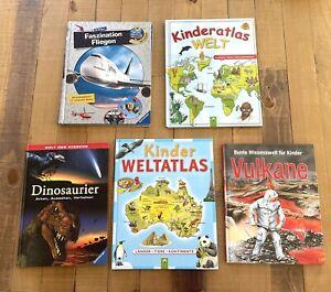 Buchsammlung (5 Stk): Faszination Fliegen Ravensburger, Atlas, Dinos, Vulkane