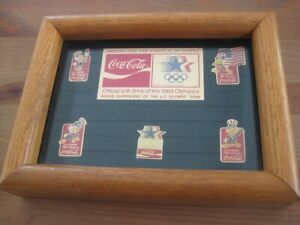 Coca-Cola Limited Edition Framed 1984 Olympic Pin Set-NEW