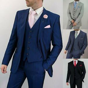 Men's Cavani Fitted Wedding 3 Piece Suit Classic Office Work Plain Formal Suit