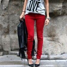ZARA TRF Denim Red Skinny Pitillo Gold Button Jeans Size EUR 38 UK 10 USA 6