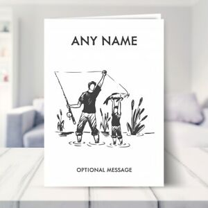 Personalised Fishing with Dad Birthday Cards for Dads Grandad Christmas