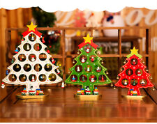 Wood Christmas tree home decor handmade table decors with bells and snowman