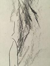 Très beau dessin original  fusain crayon  Armand Petitjean Abstraction 1987