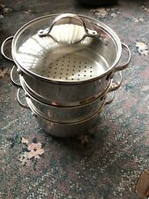 Steamer Cooker Pot Set Stainless Steel Pan Cook Food Glass Lid Large 3 Tier