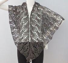 New Handmade Crochet Dark Brown Soft Acrylic Pineapple Shawl Wrap Scarf
