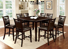 Dining Room 9pc Counter Height Dining Set Table & 8 Chairs Leatherette Chair