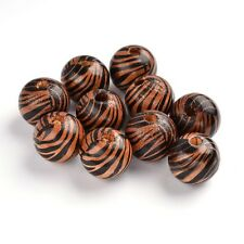 10pcs Natural Wood Beads Zebra-Stripe Round Smooth Loose Spacer Lead Free 19.5mm
