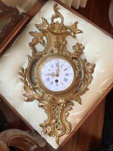 Rare Antique Art Nouveau Patinated Bronze Cartel Clock Mint
