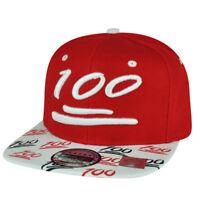 100 One Hundred Snapback Hat Cap Emoji Text Symbol Emoticons Red Adjustable