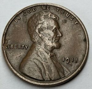 1911 - D - US Lincoln Wheat Cent - Semi Key Date Coin (Q453)