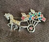 Vintage Donkey & Flower Cart Silvertone Brooch 1950s Coloured Glass Gemstones