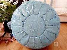 Leather TURQUOISE Pouf, White Stitching Moroccan handmade Unstuffed footstool