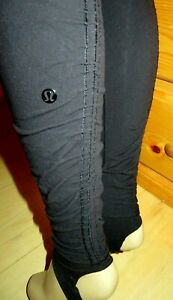 LULULEMON Wunder Under Pant SE Hi High Rise *Stirrup leggings pants-Black-8-EUC!