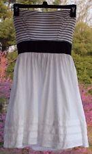 B. Darlin Juniors sz 3/4 Sundress, Navy Blue & White Striped Lined Sun Dress