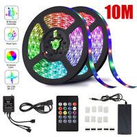 32.8Ft 10M SMD 5050 300 Led Strip Light RGB IR Remote Control Kit With Music