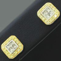 Vintage Estate 14k White & Yellow Gold 0.70ctw~ Diamond Square Stud Earrings