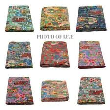 Farida Indian Kantha Quilt Handmade Bed cover Bedspread Throw Cotton Blanket