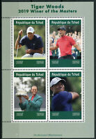 Chad 2019 MNH Tiger Woods Masters Winner 4v M/S Golf Sports Stamps