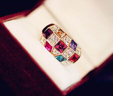 Celebrity Women's Lady Colourful Rhinestone Crystal Finger Dazzling Ring Jewelry