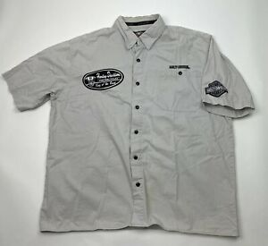 Harley Davidson Mens Distressed Garage Shirt Size XL Grey King Of The Road Patch