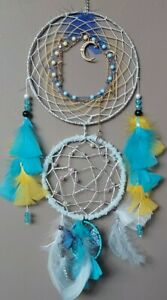 Large dream catchers, moon and stars design with amethyst charm