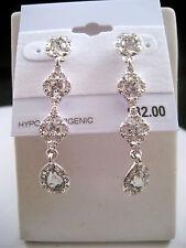 Charter Club Silver Button Stud Drop Dangle Earrings Clear Crystal  Macy's New
