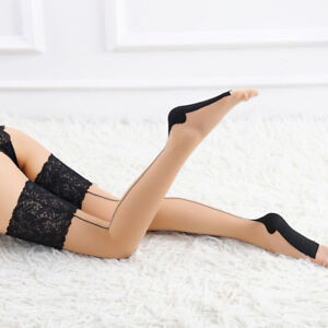 Stay Up Silk Hosiery Women Hose Thigh High Stockings Lace Top Lingerie Sexy