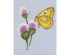 RTO Counted Cross Stitch Kit - Flying up to the Flower - Butterfly landing on a