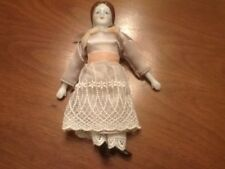 Reproduction Porcelain Bisque Doll Jointed In lace Dress