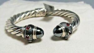 David Yurman Sterling Silver Hematite & Ruby 8.5 MM Rebausabbce Bracelet