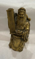 Vintage Japanese Hand Carved Bronze Figure Bearded Man With Scroll