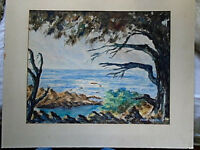 Vintage Watercolor Seascape Signed California View??