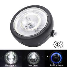 """6 1/2"""" LED 40W HeadLight Blue HALO Ring For Harley Bobber Angel Eye Universal"""