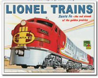 Lionel Locomotive Train Santa Fe Metal Tin Ad Sign Picture Room Shop Decor Gift