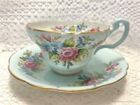 EB Foley Tea Cup and Saucer Pale Blue and White With Floral Bouquet