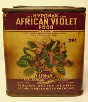 Old Vintage 1950s AFRICAN VIOLET PLANT FOOD GRAPHIC SPICE TIN SIZE COPLEY OHIO