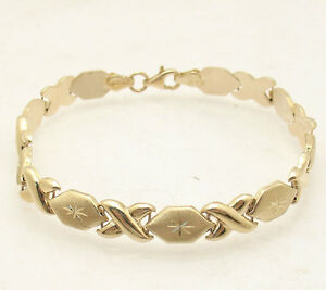 """7.25"""" Diamond Cut Hugs and Kisses Stampato Bracelet Real 10K Yellow Gold"""