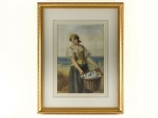 William Harris Weatherhead RI Watercolour Fishergirl on Beach