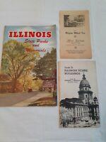 Vtg Brochures Lot (3) Illinois State Parks Memorials Buildings Wagon Wheel Inn