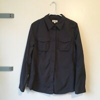 Women's Travelsmith Button Down Collared Shirt Medium Charcoal Grey Blouse Top