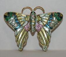 Green Purple Blue Gold Tone Butterfly Moth Pin Brooch Costume Jewelry