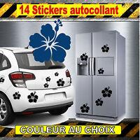 lot 14 stickers autocollant fleur Hibiscus pour deco voiture, frigo, murs  decal