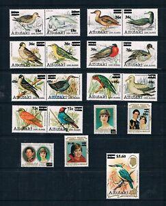 Aitutaki - Surcharged Birds & Charles-Diana Set - SC 293-311 [SG 447-465] MNH G3