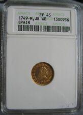 1749-M JB Spain Gold 1/2 Escudos ANACS EF-45