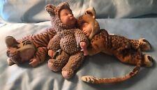 "Anne Geddes Sleeping Cheetah Tiger Mice Baby Doll 9"" Lot"