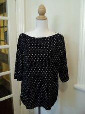 sara navy blue white polka dot stretch top boat neck  worn once.